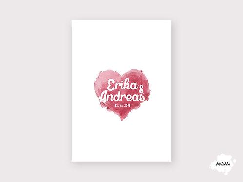 """Hochzeitskarte""""Curly Heart"""""""