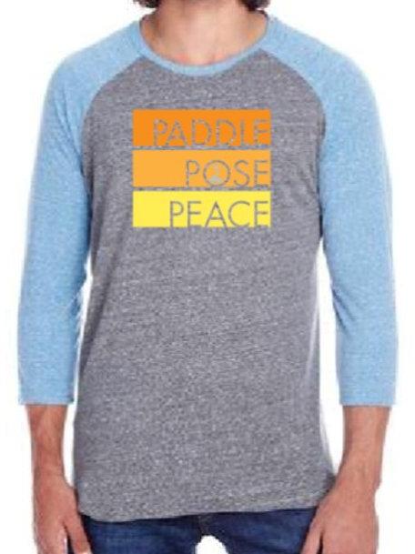 Grey and Light Blue Paddle, Pose, Peace Baseball Tee