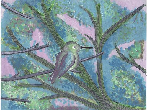 Baby Humming Bird (print)