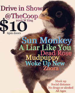 """A flyer for a drive in concert at The Coop in Tucson. It reads: """"Drive in show at The Coop 2006 w ki"""