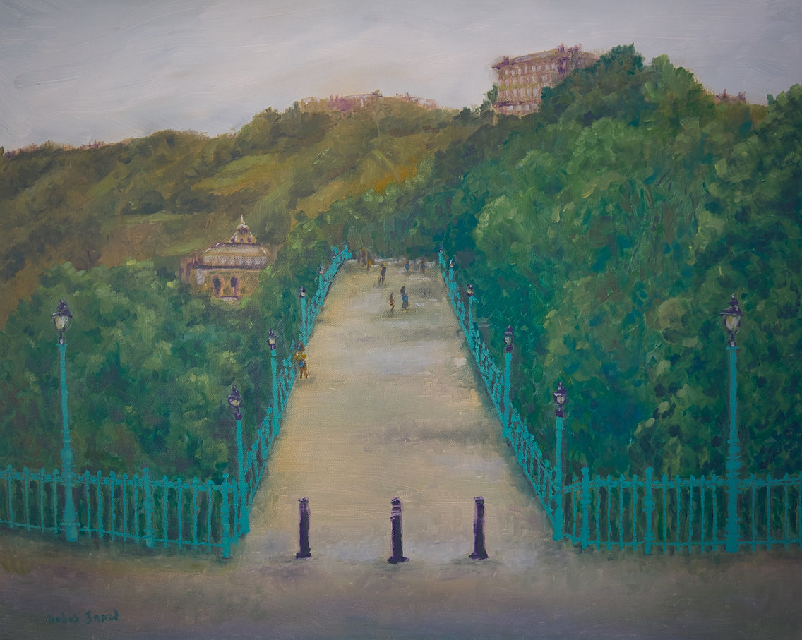 Fine art oil painting of the spa bridge in Scarborough, painted to show the many hundreds of trees that support a wide and diverse eco system on the Yorkshire coast, including the magnificent Peregrine Falcon