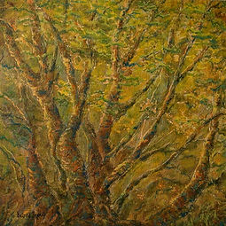 Woodland landscape painting, decorative art, oil paining, North Yorkshre, warm colours, design, home, interior styling