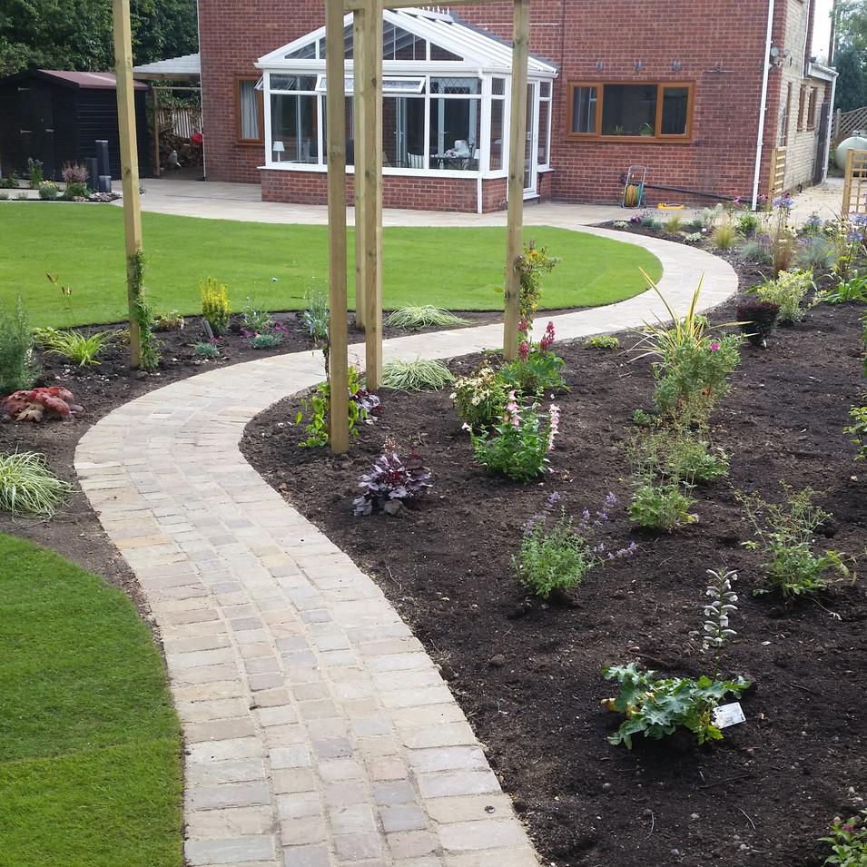 Back garden after landscape design and construction