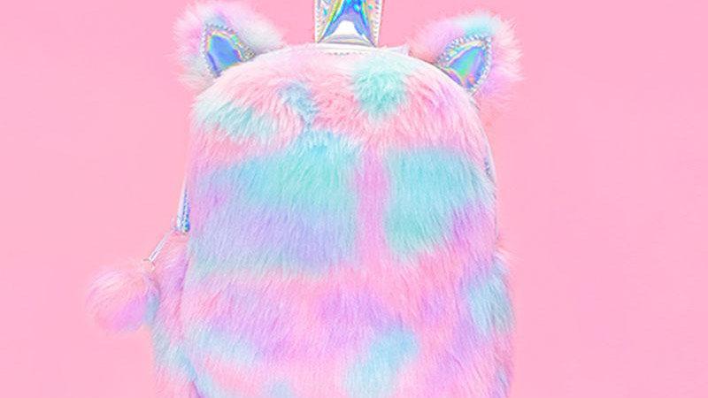Plush Rainbow Unicorn Backpack - Sherbet