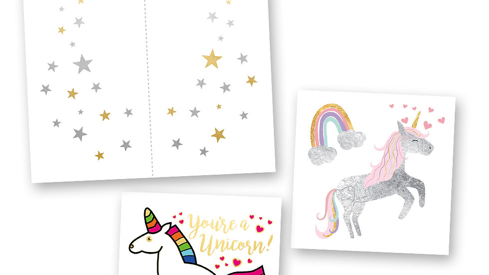 Believe in Unicorns Mini Variety Set - Metallic Temporary Flash Tattoos