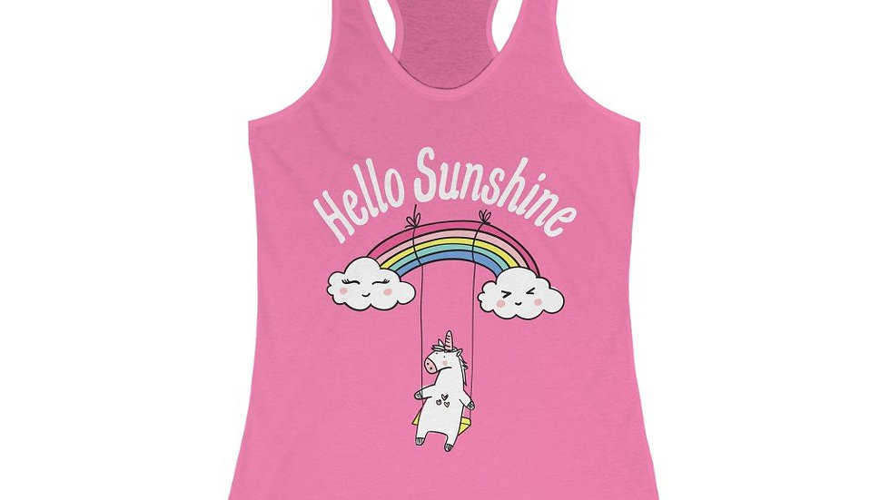 Hello Sunshine Unicorn Racerback Tank Top