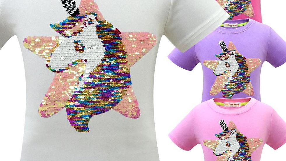 Unicorn T Shirt Girl Summer Clothes