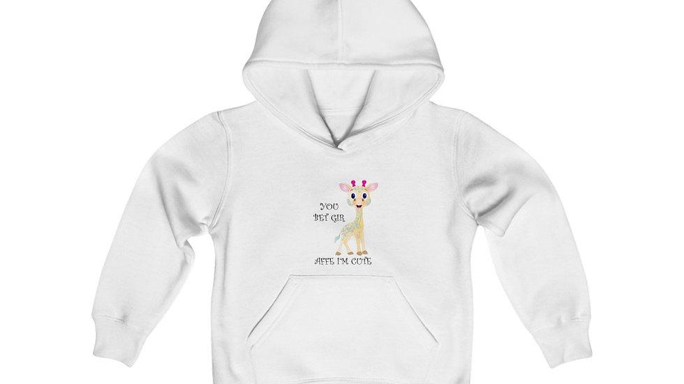 """Youth Heavy Blend Hooded Sweatshirt, """"I Bet Giraffe I'm Cute!"""""""