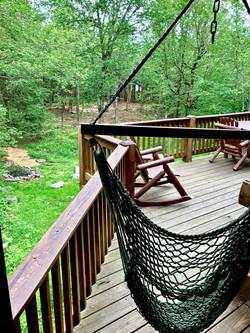 Hammock chair & view on deck