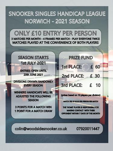 Snooker Singles Handicap - Norwich