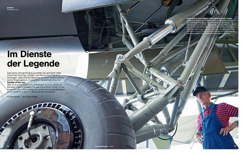 Restaurierung einer Focke Wulf Typ Condor für das Lufthansa Magazin
