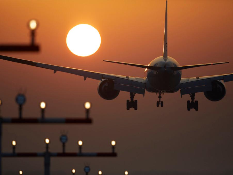 Landeanflug einer Boeing 777 in FRA.
