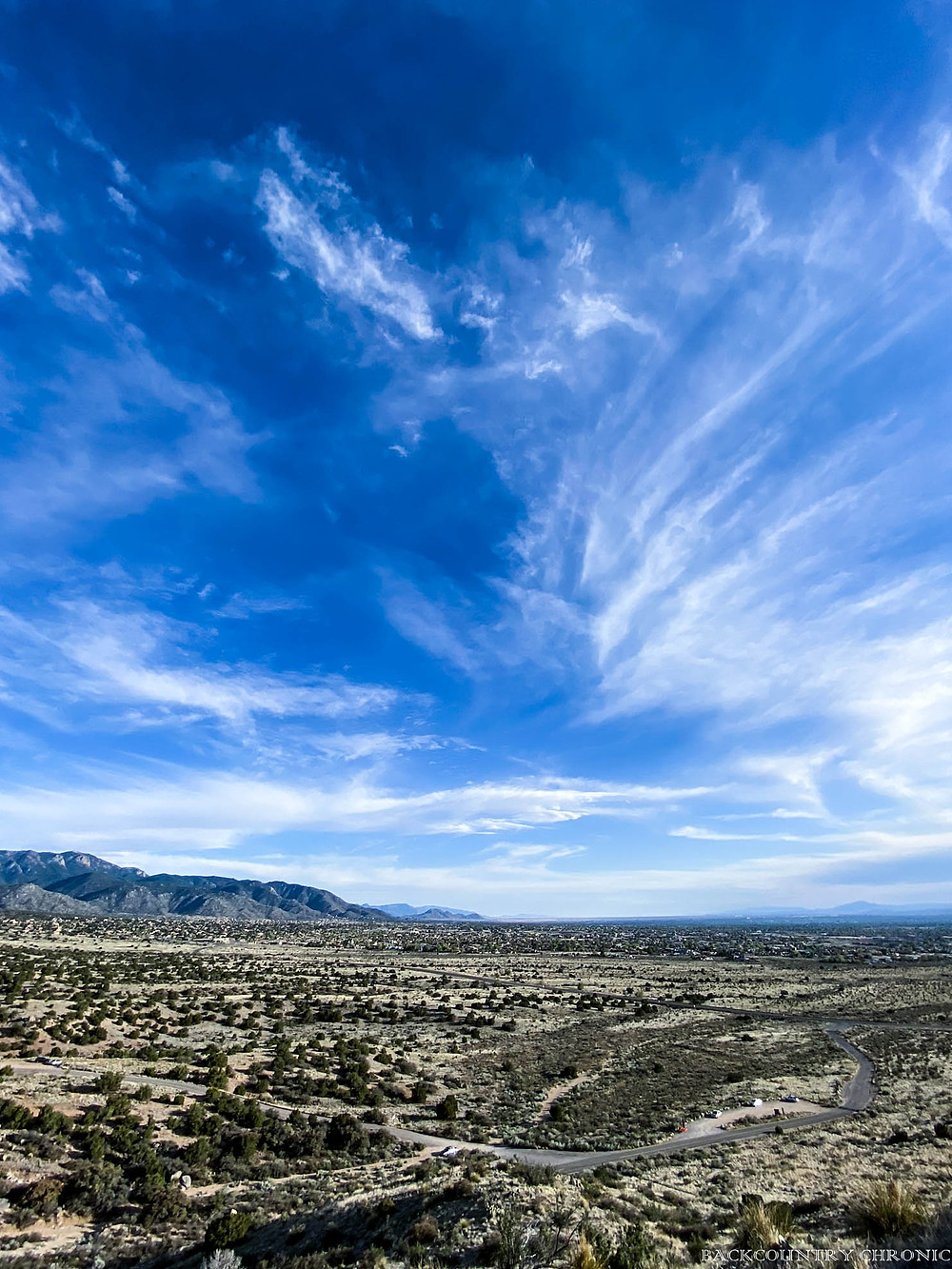 Looking south from the Sandia Mountain Wilderness
