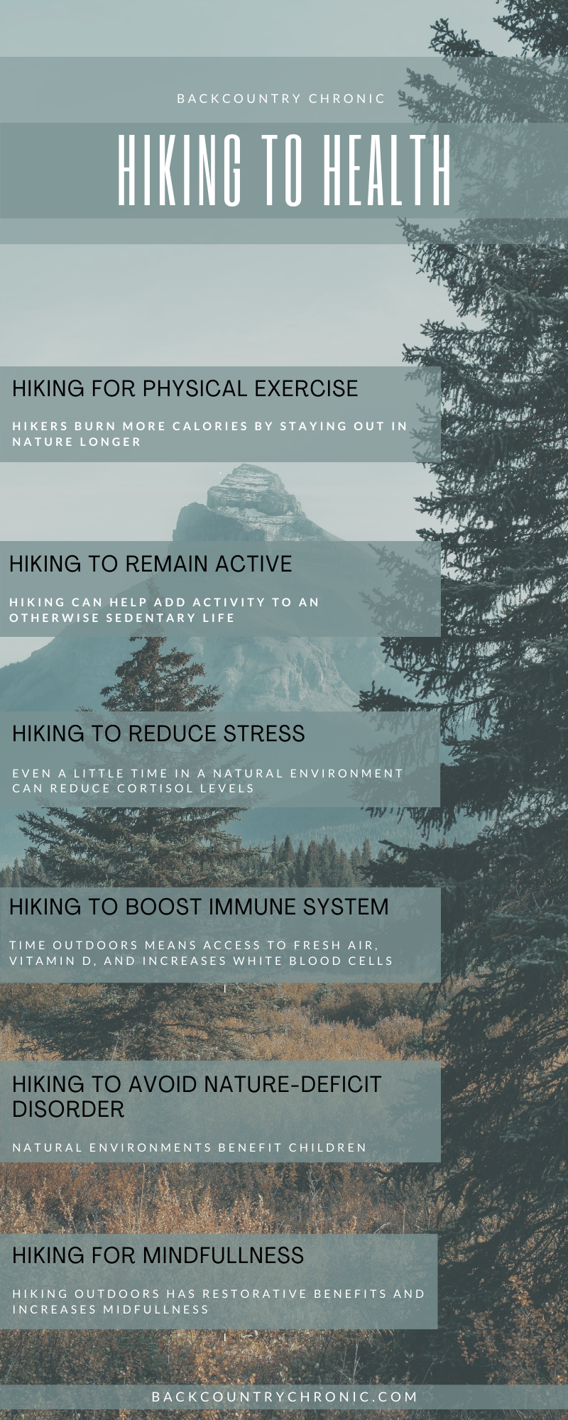 Infographic about hiking and health benefits