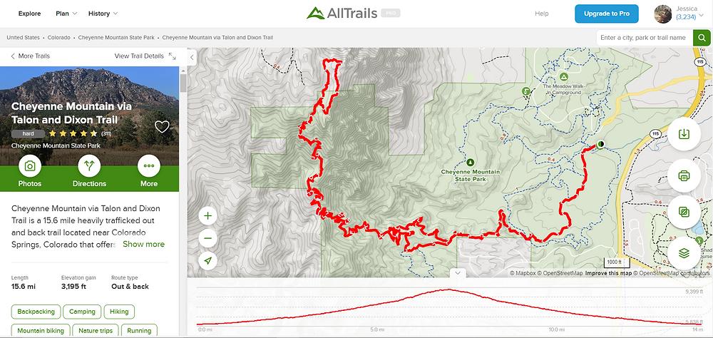 AllTrails trail map