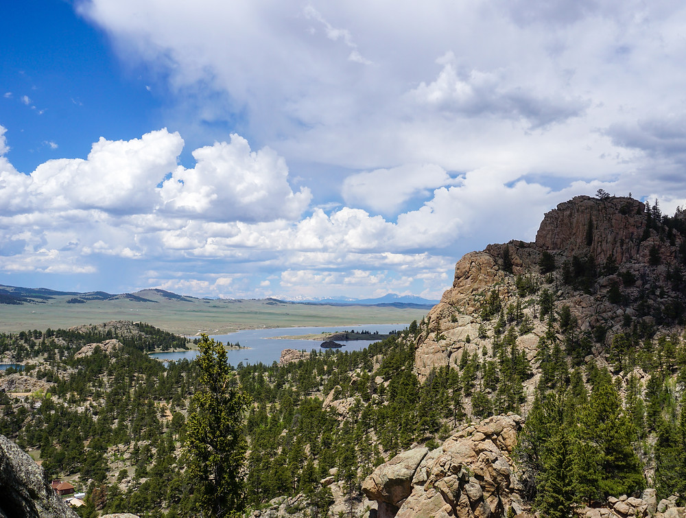 View of Eleven Mile Reservoir and mountains in the distance