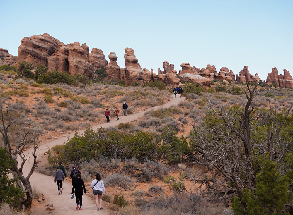 The trail to Landscape Arch with several groups of people
