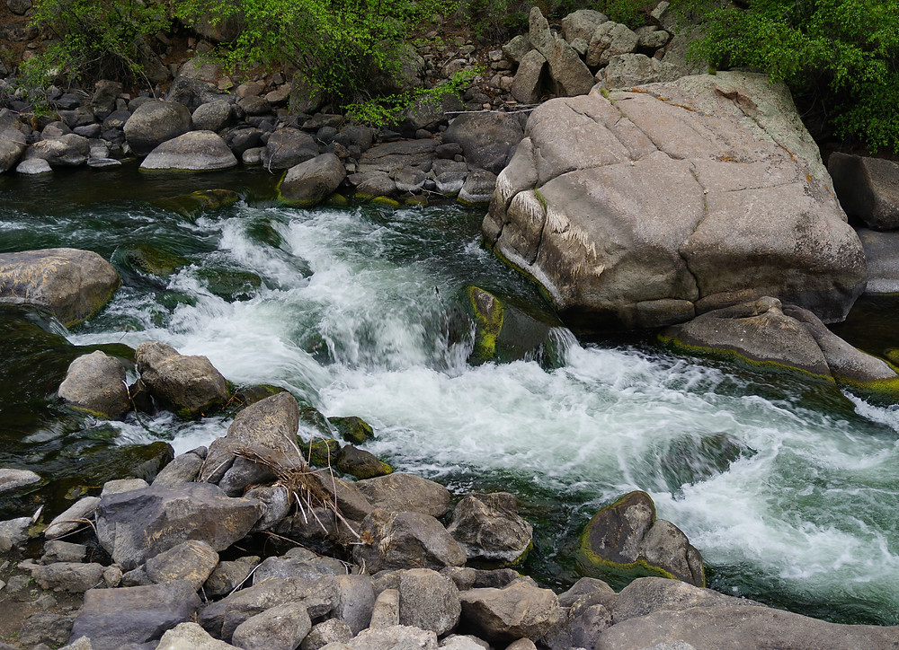 A view of rapids and lots of boulders in the South Platte River