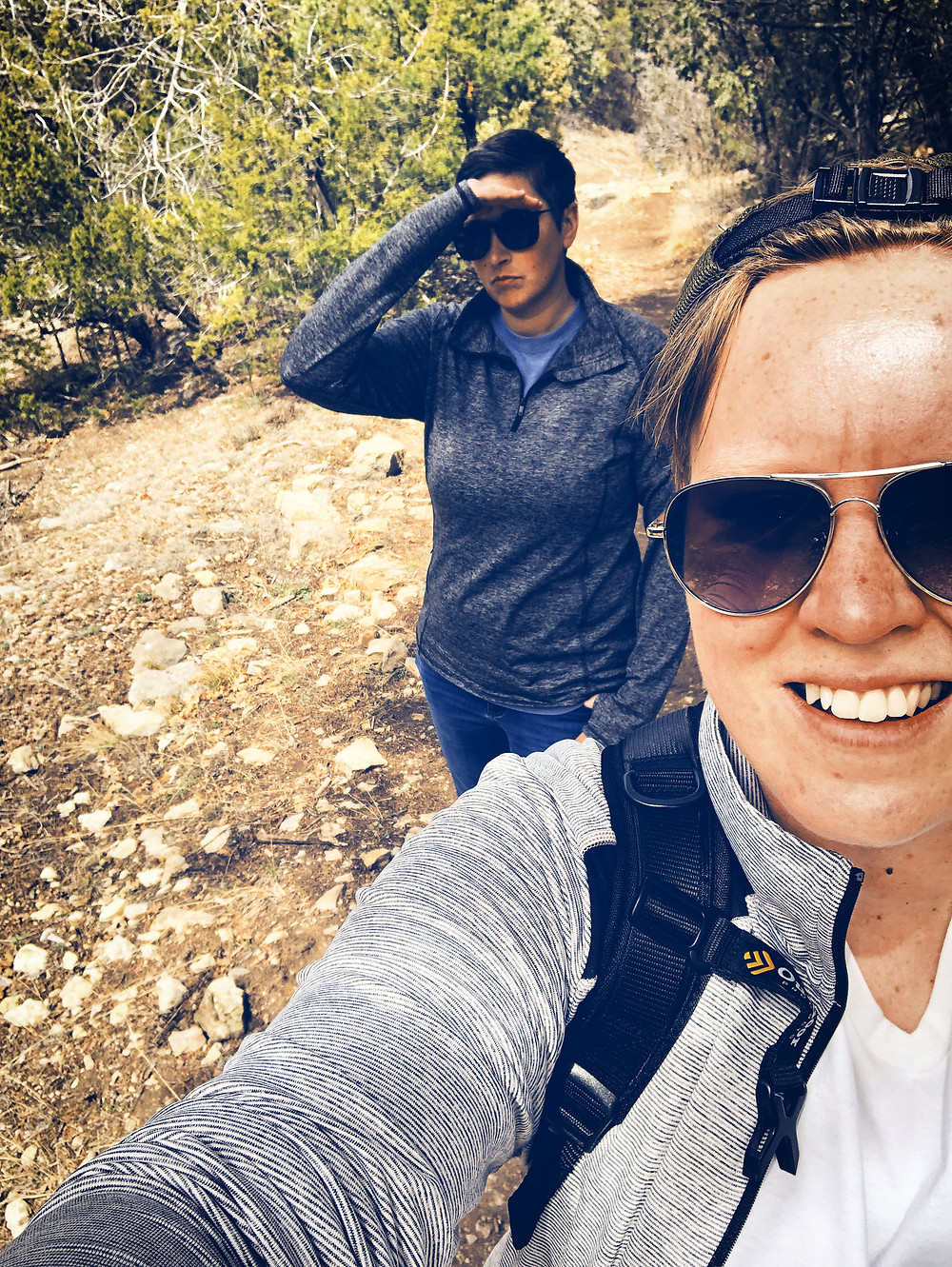 Maintaining social distancing on the hiking trail.