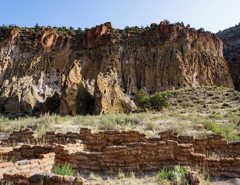 Big Kiva and frijoles canyon at Bandelier National Monument