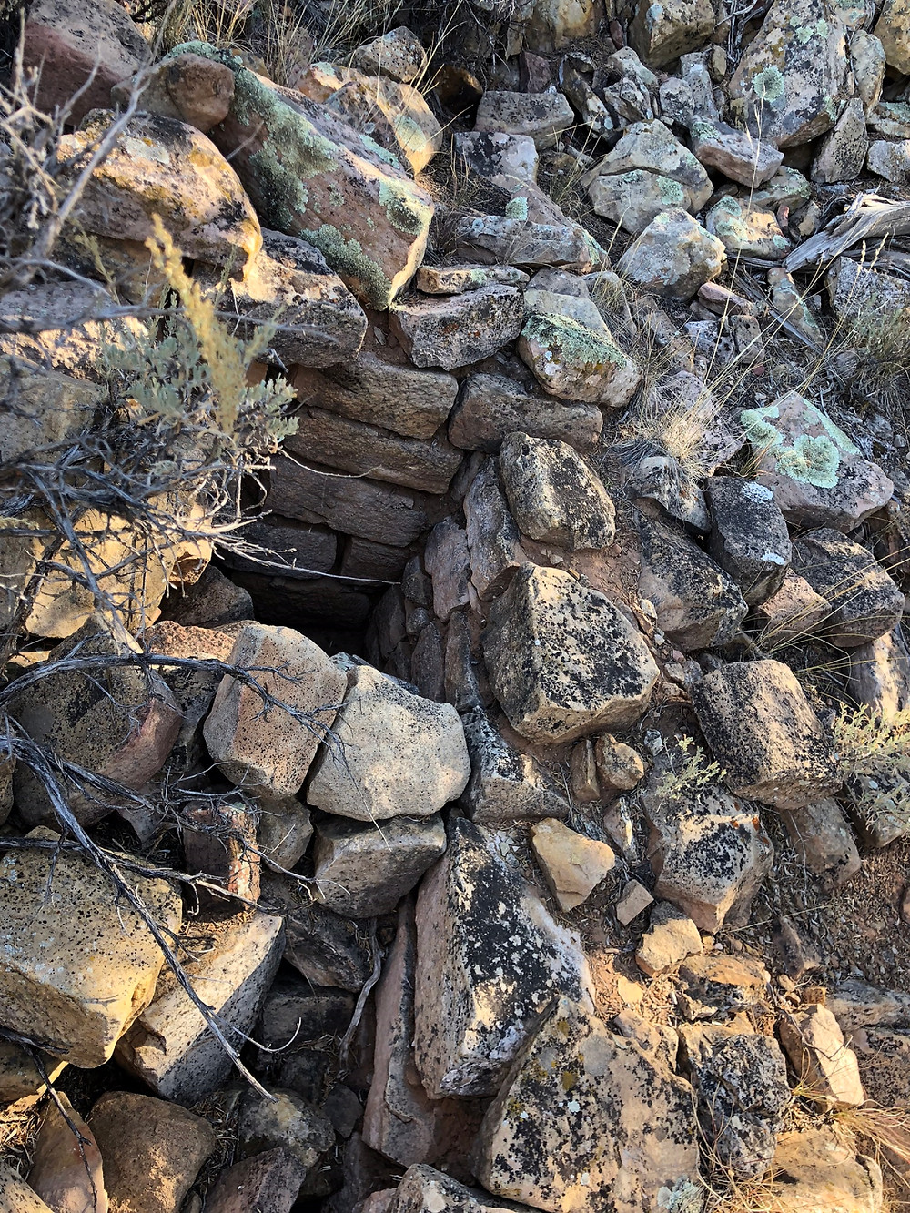 Stone wall at Sand Canyon Pueblo ruins in Canyons of the Ancients National Monument