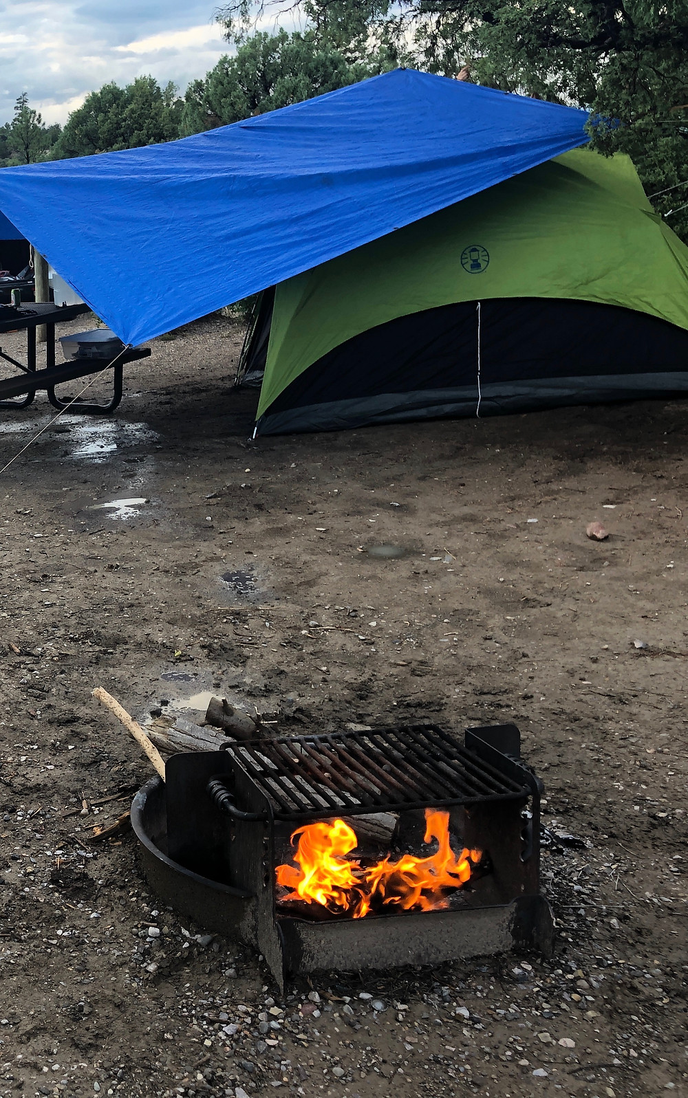 Tent and campfire at Willow Creek Campground