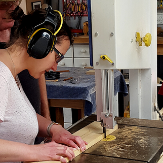Woodworking lesson in progress