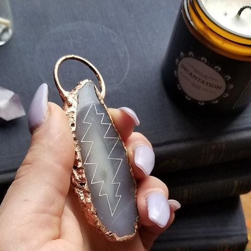 Grey Engraved Bolt Agate