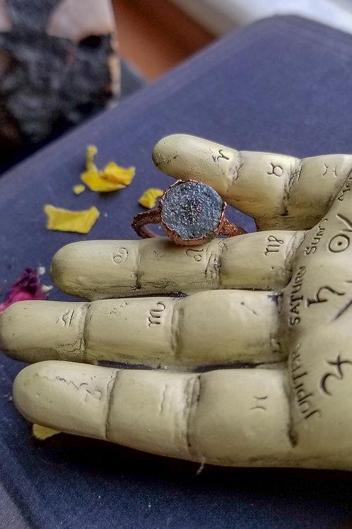 Dainty Aura Quartz Druzy Ring Size 7