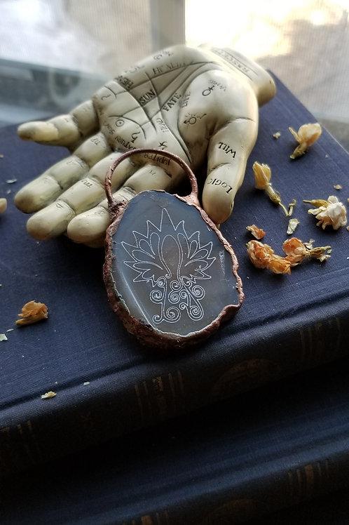 Lotus Flower Engraved Agate Pendant