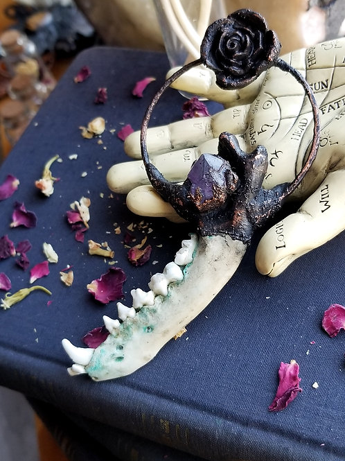 Raccoon Jawbone with Amethyst & Rose