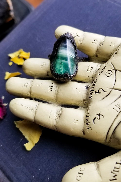 Green Fluorite Statement Ring Size 7