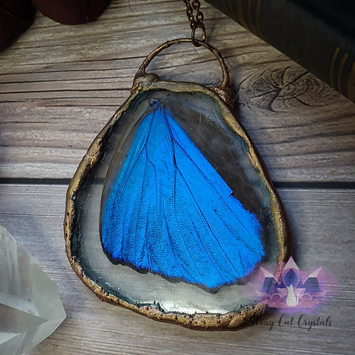 Real Blue Morpho ButterFly Wing Pendant No. 1