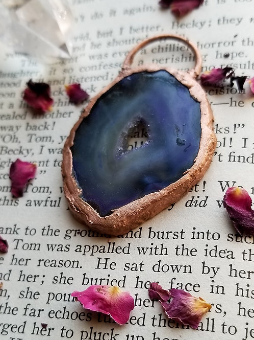 Natural Blue Agate Pendant
