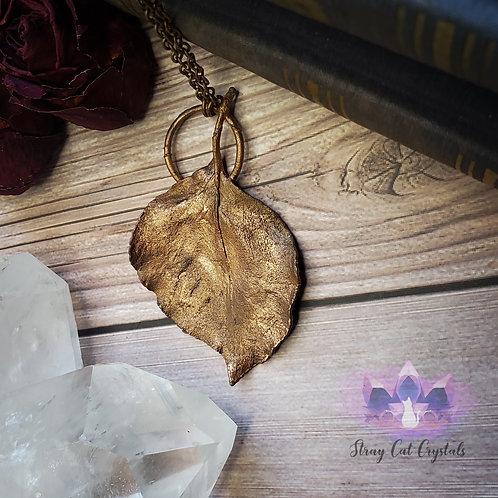 Real Encased Pear Leaf Pendant No. 1
