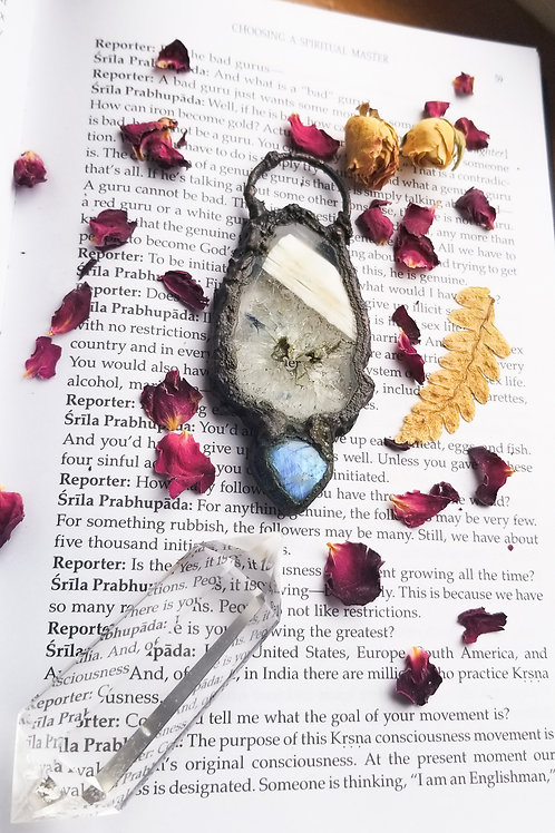 Blue Agate x Moonstone Pendant