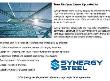 Now Hiring Truss Designers for new South End office in Charlotte, NC!