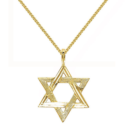 14k Yellow Gold Star of David Religious Pendant with 1.5-mm Wheat Chain