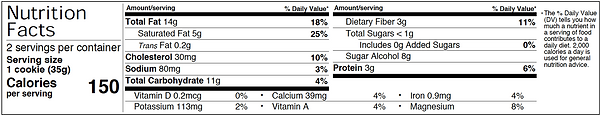 Chocolate Chip Cookie Nutrition Facts.pn