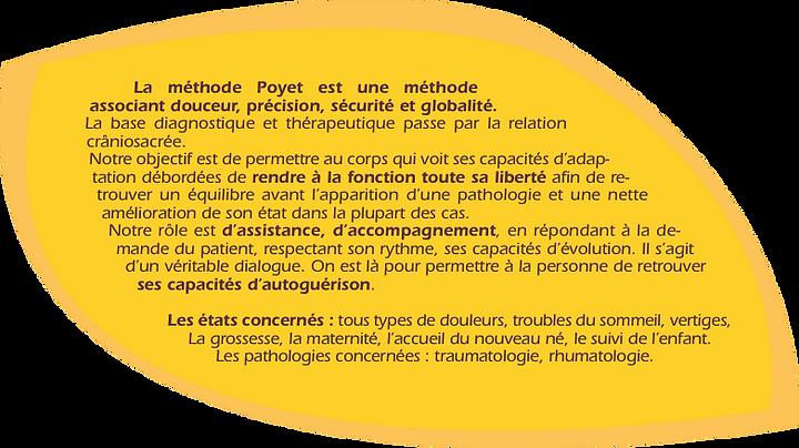 L'ostéo Poyet et la somatopathie sont les outils principaux de Laurence Jacquot mais parallèlement, elle utilise l'Eutonie, l'Ergothérapie et le décodage biologique pour optimiser le soin, réapprendre à bouger en harmonie et se libérer des tensions dans la durée...