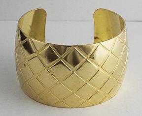 """1 1/2"""" Quilted Brass Cuff"""