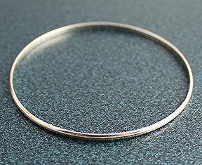 ".100"" Domed Sterling Silver Bangle Bracelets"