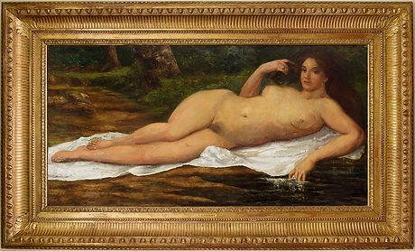 Gustave Courbet, tableau inédit découvert par Johann Naldi. Femme nue couchée au bord de l'eau. Exposé au musée Gustave Courbet à Ornans en 2019.