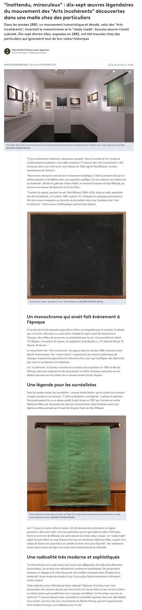 Franceinfo culture. Dix-sept oeuvres légendaires du mouvement des Arts incohérents découvertes dans une malle chez des particuliers. Parmi ces oeuvres : le premier monochrome de l'histoire et un ready-made d'Alphone Allais.