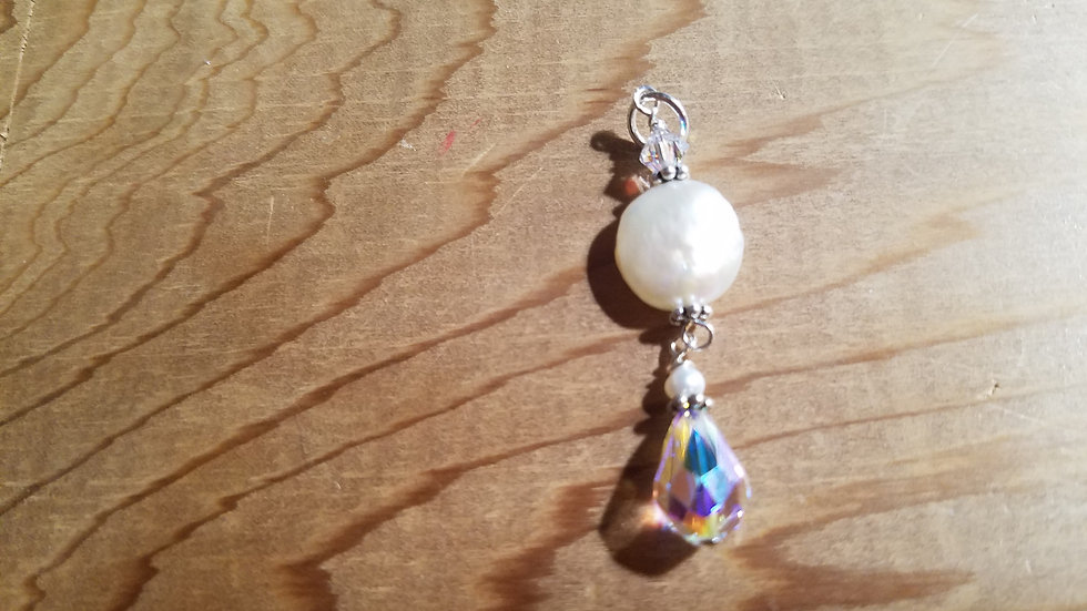 Sterling silver coin pearl and crystal pendant