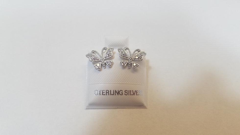 Butterfly Sterling silver cz studs
