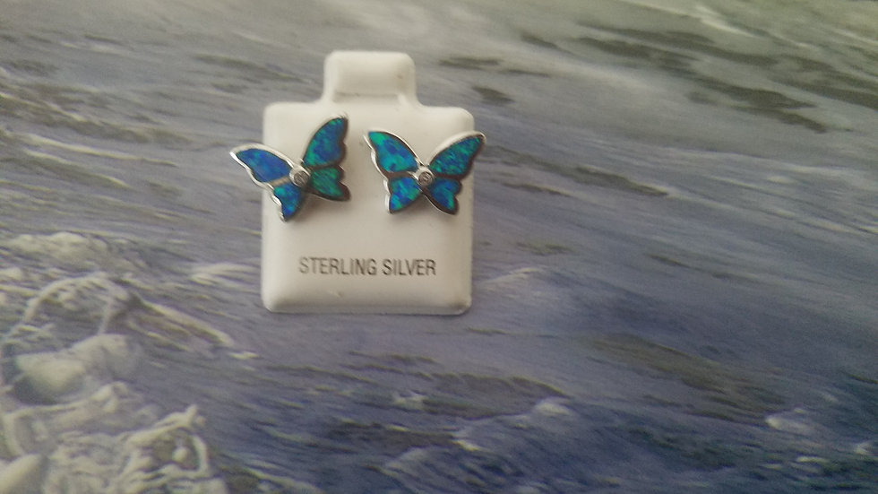 Butterfly studs with inlaid man made opals