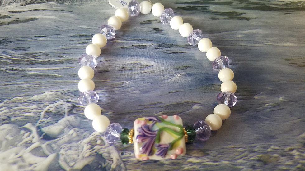 White jade and lavender crystal bracelet