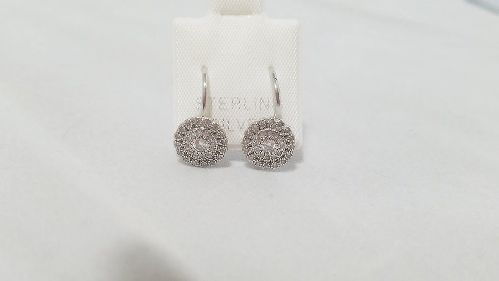 Round snowflake cz lever wire Earrings