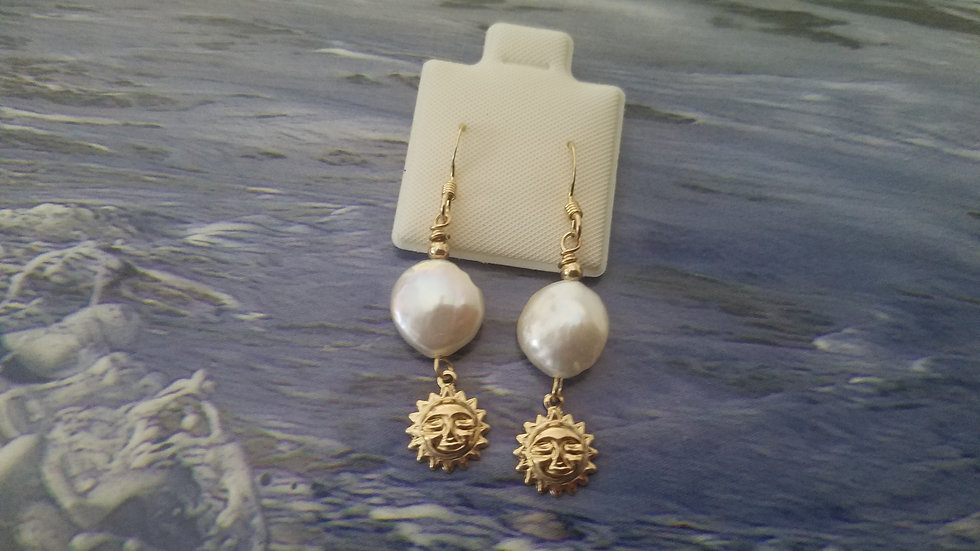 Gold Filled fresh water coin pearl sun earrings